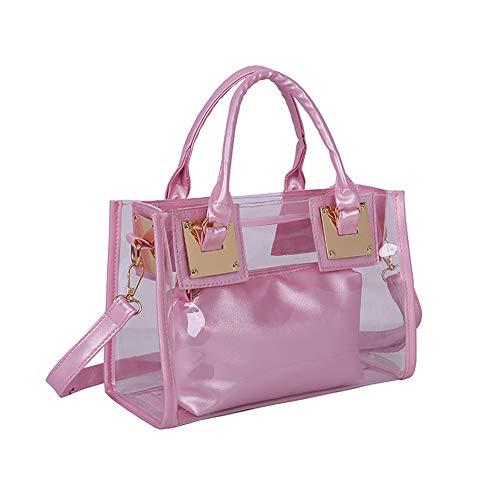 AlwaySky Damenmode Transparente Tasche 2 in 1 Handtasche Top Griff Tote Schulter Crossbody Tasche Pink -