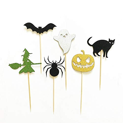 DERNON Halloween Spinnenkürbis Cat Elf Ghost Cake Topper Halloween Cupcakes Flaggen Mehrfarben
