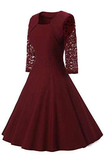 Adodress Frauen Vintager quadratischer Ansatz Blumenspitze 2/3 Hülsen Partei kleidet Cocktail Schwingen Kleid Rot