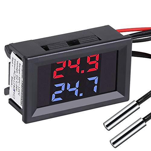 PEMENOL DC4-28V Rot + Blau Dual Display-Digital-Thermometer mit NTC Wasserdichtem Metallfühler-Temperatursensor -