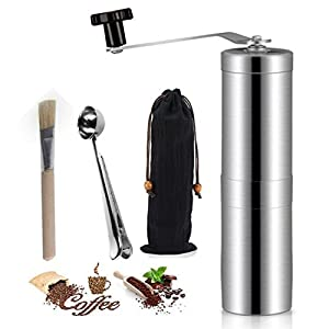 Whole Bean Manual Coffee Grinder with Brush & Clip Spoon, HBONE Stainless Steel Body Adjustable Ceramic Conical Burr Hand Crank Mill Grinds Spices Brushed for French Press Turkish Handheld Mini K Cup