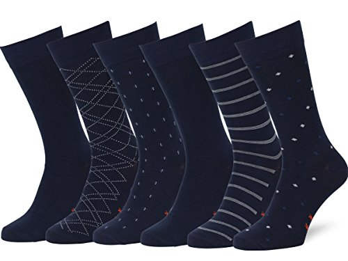 Easton Marlowe 6 Paar Gemusterte Baumwolle Herren Socken - 6pk  4-5, dunkle Marine Blau - 43-46 EU Schuhgröße