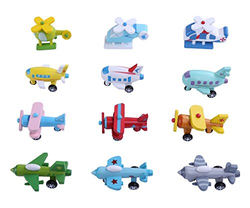 berry-presidenttm-set-of-12-wooden-mini-multicolor-airplane-helicopter-fighter-biplane-vehicle-model