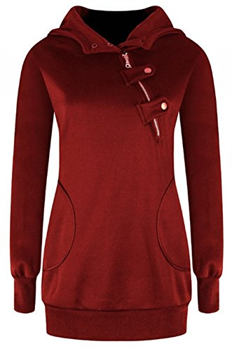 Blansdi Damen Frauen Winter Herbst Langarm Kapuzenpullover Taschen Jacke Pullover Oblique Reißverschluss Tops Outwear Hoodie Sweater Kapuzenpulli (Hoodie, Reißverschluss über Gesicht)