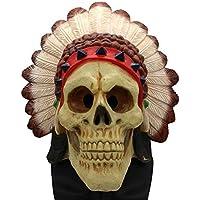 HZJA Máscara Halloween Indio Terror Ghost Bar Prom Up Props Mascara Caps Bioquímica Esqueleto