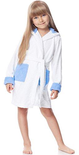 Weiße Baumwolle Junge Kurze (Ladeheid Kinder Frottee Bademantel aus 100% Baumwolle LA40-103 (Weiß/Blau (P1/M9), 110-116))