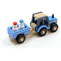 Fahrzeuge Traktor mit Anhänger Trecker Biegepuppen Holztraktor Holzauto Holzspielzeug