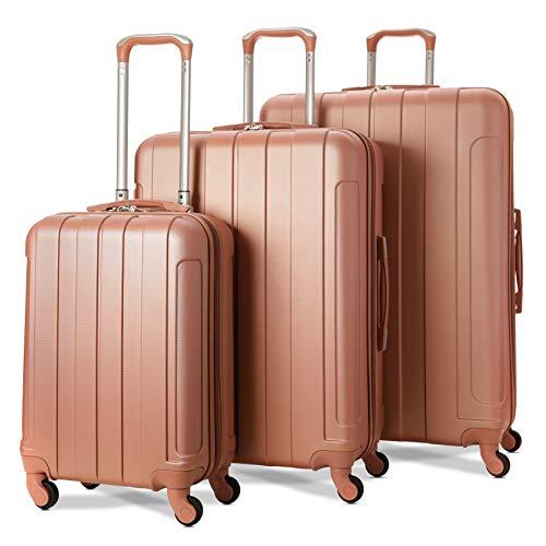 EONO Essentials - Set di 3 Trolley in ABS - Valigie rigide e leggere con 4 ruote - 55cm Bagaglio a mano + Bagaglio medio 71cm + bagaglio grande 81cm - Rosa Oro