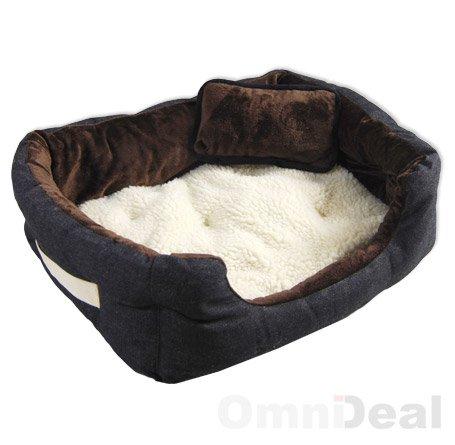 Hundebett Tierbett Braun Weiß Lammfellimitat ca. 52x40x16cm mit Innenkissen + Schmusekissen + Pipi-Schutz-Unterlage - 4
