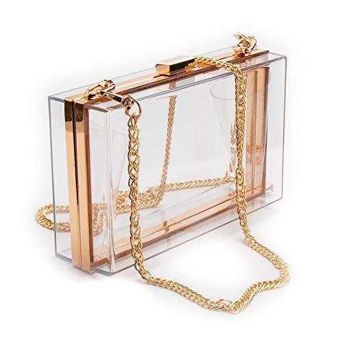 Abend-tasche Frame (FLDONG Transparente Damen-Handtasche, durchsichtig, für Abendveranstaltungen, Stadion-genehmigt, Gold Frame Clear - Größe: Einheitsgröße)