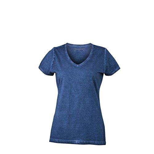 JAMES & NICHOLSON Damen T-Shirt, Einfarbig Bleu denim