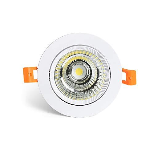Zkciss Foco de techo de aluminio fundido a presión Proyector Luces de techo europeas redondas creativas Antideslumbrante LED empotrado Downlight Ventana Vitrina Vitrina Luminaria 3000K Luz cálida