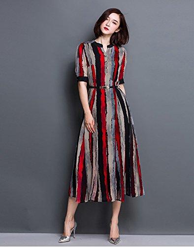 Smile YKK Femme Robe Longue Rayures Slim Moulante Avec Ceinture Rouge