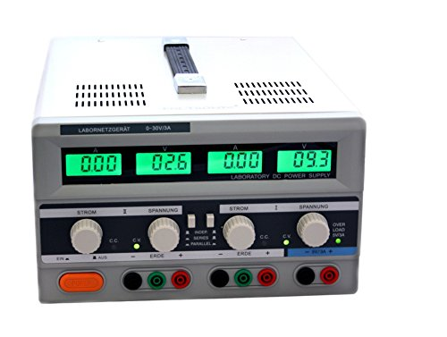Duales DC Labornetzgerät 0-30V 3A regelbar beleuchtet EDI3003CIII Netzgerät Labornetzteil 2-Kanal