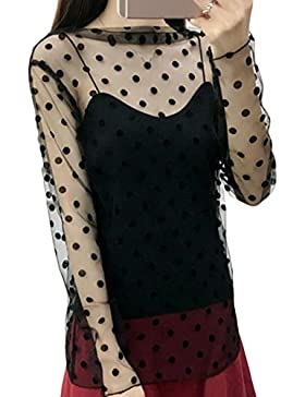 Ylen Mujeres Malla Perspectiva Blusa Transparente Camisetas de Manga Larga Tops Clubwear