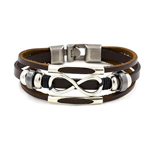 AIUIN Schmuck Herren Lederarmband 8 Unendliche Energie Edelstahl Armbänder Herrenarmband Für Männer Herrenarmreif Armreif Armkette Legierung (Brown) -