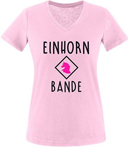 EZYshirt® Einhorn Bande Damen V-Neck T-Shirt Rosa/Schwarz/Pink