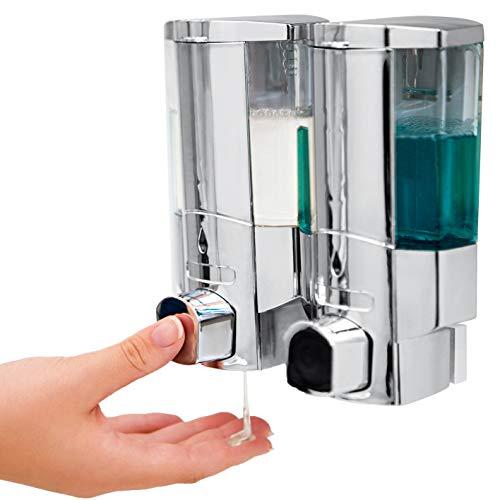 VITALmaxx-Duo-Dispensador de jabón de Acero Inoxidable Cromado Autoadhesivo o con para Pared Tornillos para Cuarto de baño, Cocina, Ducha, Lavabo, Pared