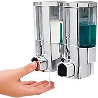 VITALmaxx – Duo – Dispensador de jabón de Acero Inoxidable Cromado Autoadhesivo o con para Pared
