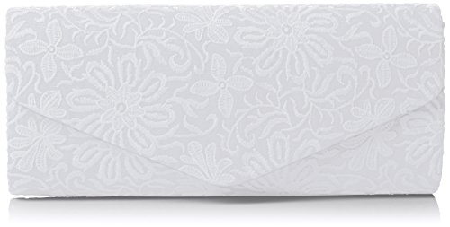 SwankySwans Damen Julia Lace Sequin Clutch Bag White Tasche, White (White), One Size (Patent Leather Clutch White)