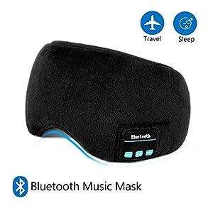 Schlafmaske mit Bluetooth,LC-dolida Augenmaske mit kopfhörern Eye Mask Sleep für Reisen mit Dem Flugzeug Schlafen Maske mit Bluetooth Headset für iPhone, Android Handys, iPad, Tabletten