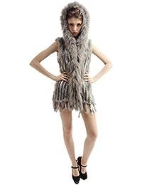 Abrigo tejido y lujoso de la piel de conejo con gorro