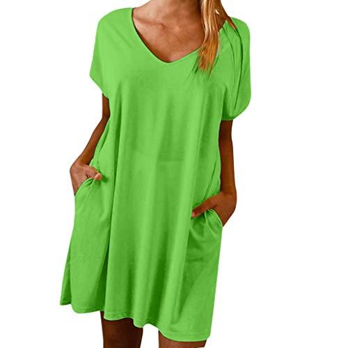 Jessboy Womens Holiday Boho Solide Sommer Pomisi Loose Beach Party Kleid Kleid Soliver Damen festlich Normallack-Tasche der Damenmode beiläufiges Kleid - Green Holiday Kleid