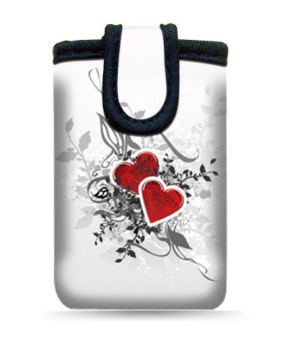"""wortek Universal Designer Handy Smartphone Tasche aus Neopren für diverse Smartphones bis zu 4,3"""" - Blumen Ranke Schwarz Weiß 05 Hearts White Red"""