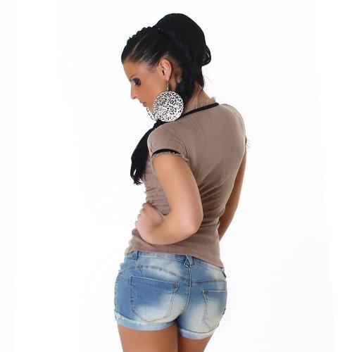 Damen Top Shirt Blusenshirt Onesize trendige Farben Braun