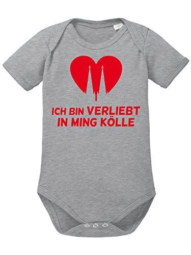clothinx Baby Body Unisex Karneval Ich Bin verliebt in ming Kölle Sports Grey/Rot Größe 80-86