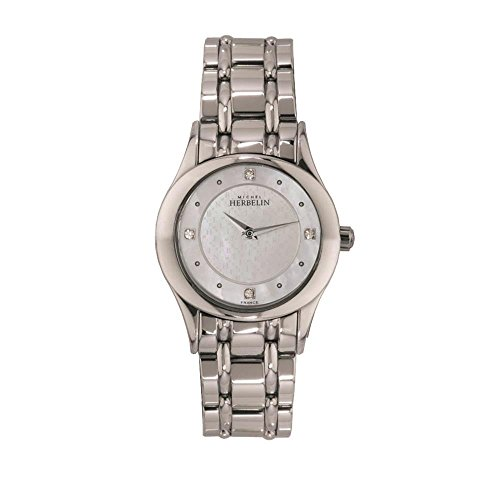 MICHEL HERBELIN WOMEN'S STEEL BRACELET & CASE QUARTZ MOP DIAL WATCH 17227/B59