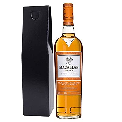 The Macallan 1824 Amber Single Malt Whisky 70cl Bottle In Chic Black Gift Box with Hand Crafted Gifts2Drink Tag