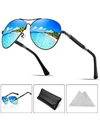 2a00abd243a0e0 ATNKE Rétro Aviateur Polarisé lunettes de soleil pour hommes Femmes Énorme  UV400 Protection avec cadre en