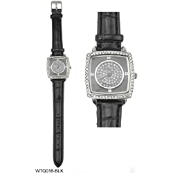 Diamante Encrusted Square Shaped Face Watch with Black Leather Strap
