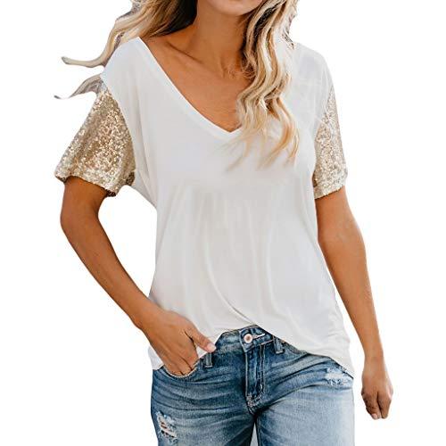 Damen V-Ausschnitt Kurzarm Stehendes T-Shirt mit Pailletten Lässige Bluse