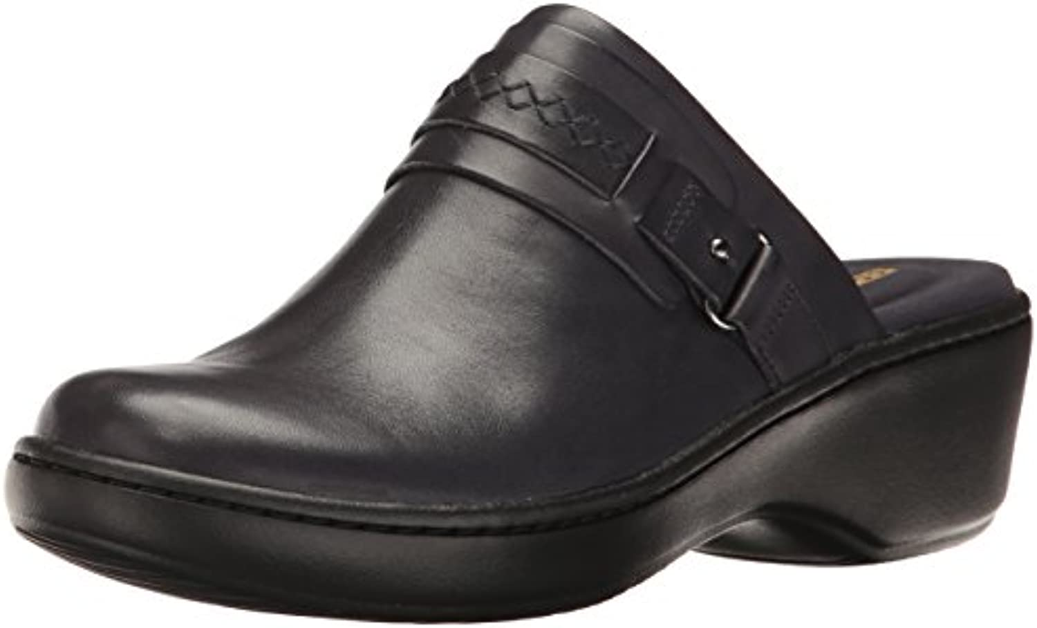 Clarks Women's Delana 6.5 Amber Mule Navy Leather 6.5 Delana W US b365b9