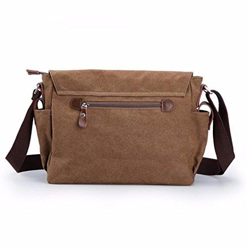 Longra Sacchetto di spalla del sacchetto di spalla della tela di canapa degli uomini Caffè