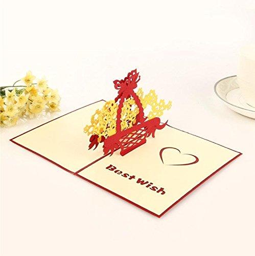 3D Floral Pop-Up-Karte und Umschlag-Funny Einzigartige Pop Up Grußkarte für Geburtstag, Muttertag, Neues Jahr, Jahrestag, Valentinstag, Hochzeit, Partys, Thank You. Best Wish gelb Blume Korb