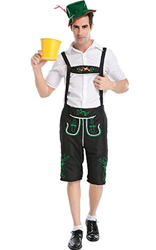 Perfectii Erwachsene Oktoberfest Kostüm Herren Bavarian Guy Hosen Kostüm Set, Kurze Hose mit Hosenträgern, Oberteil und Hut für Oktoberfest Karneval (Guy Kostüm Oktoberfest)