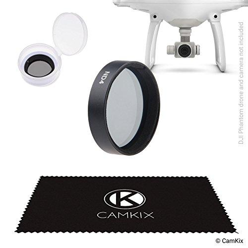 CamKix ND4 Filter für DJI Phantom 4 und 3* - Mit einem CamKix Neutralfilter (ND4), einem Filteraufbewahrungsbehälter und einem CamKix Reinigungstuch - Besseres Videomaterial für kürzere Verschlusszeiten in hellem Licht