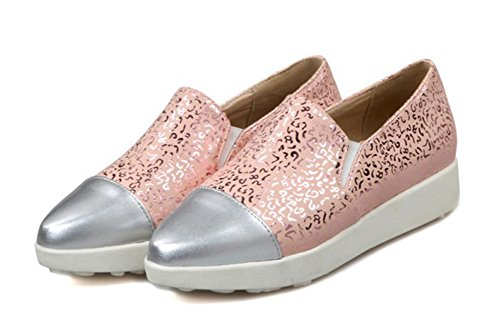 Aisun Senhoras Padrões Da Moda Dedos Pontudos Cunha Salto Sneakers Haste Curta De Moda Rosa
