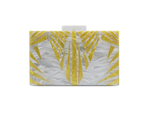 GSHGA Borse Da Donna Acrilico Splicing Bianco Perla Rettangolo Borse A Tracolla Messenger Bag,PhotoColor PhotoColor