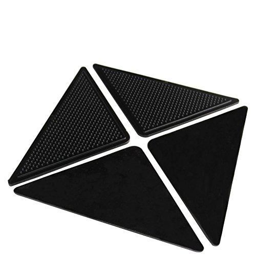 4x Negro Silicona Antideslizantes Alfombrilla Adhesiva Forma de Triángulo para Alfombra