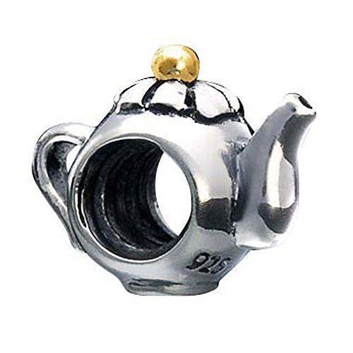 MATERIA Beads Anhänger Teekanne Silber 925 vergoldet bicolor antik #1118 -