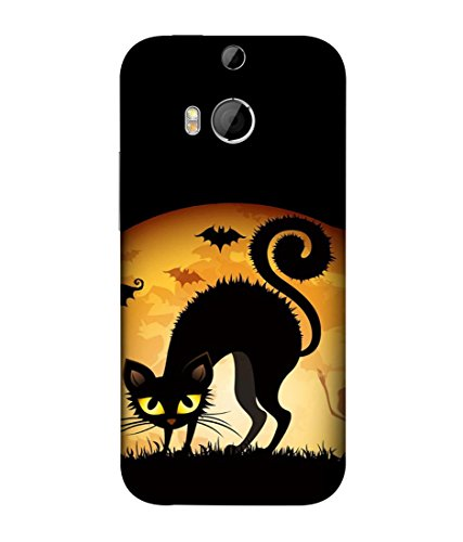 PrintVisa Designer Back Case Cover for HTC One M9 Plus :: HTC One M9+ :: HTC One M9+ Supreme Camera (Cartoons Cat Bats Ghost Frightening )