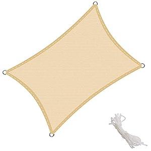 KingShade Tenda a Vela Rettangolare 4x6m, Traspirabile HDPE e Resistente agli Agenti Atmosferici, Protezione dai Raggi UV per Giardino, Balcone e Terrazza, Sabbia