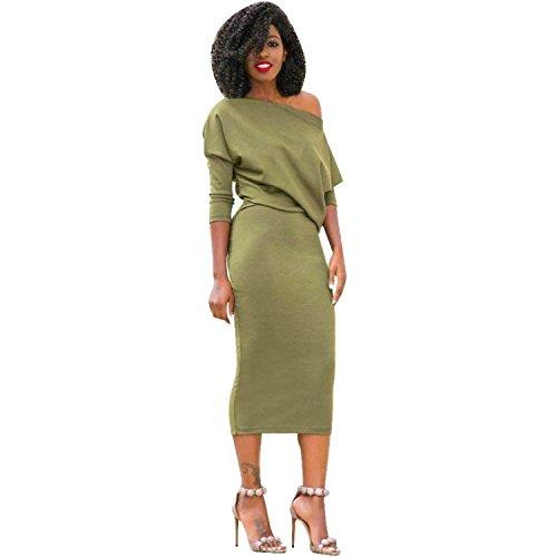 Midi Kleid, Bbring Damen Mode Bodycon Kalte Schulter Einfarbig Lange Ärmel Lässiges Kleid Tunika Cocktailkleid Tunika Abendfest (XL, Grün)
