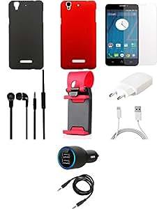 NIROSHA Tempered Glass Screen Guard Cover Case Charger Headphone Mobile Holder Combo for YU Yureka Combo