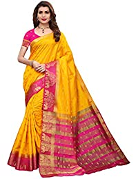 GoSriKi Silk with Blouse Piece Saree (Tree Pink_Yellow_Free Size)