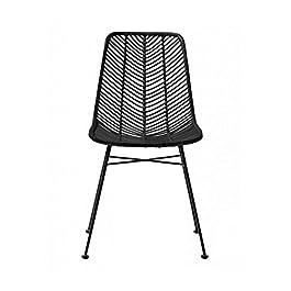 Bloomingville Chaise Design la Lot de 2 chaises en rotin Noir Lena Chair de Couleur Rotin Noir/en Rotin – Osier – Acier…
